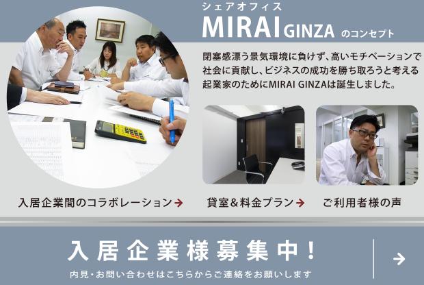 シェアオフィス・レンタルオフィスMIRAI GINZA